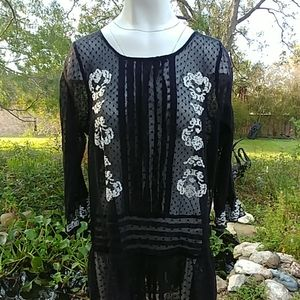 Free People embroidered lace top large